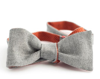 Grey flanel wool & orange brown plaid cotton bow tie - double sided
