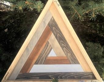 Holy Triangle/ Reclaimed Triangle Art/ Triangle Geometry/Meditation /Yoga/ Decor  Wooden Art/ Geometric Design/ Shape Art/Spirtual Art/Love/