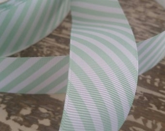 Mint and white striped grosgrain ribbon 2.5 inches by 10 yrds