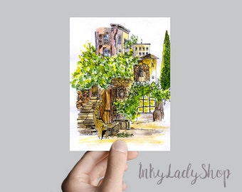 Italy watercolor travel sketch. Wall art print. Italian courtyard. Italy drawing. Watercolor landscape. Print 8x10. Wall decor gift idea