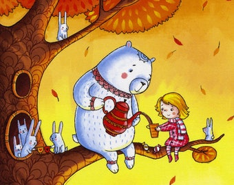 Bear nursery art/Nursery artwork/Baby room print/Girl and the bear on a tree/Rabbits drawing/Kids art/Baby room art/Kids wall art print 8x10