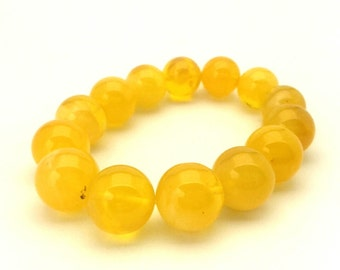 Amber Baltic Bracelet Exclusive Genuine Natural 23.80 Gr Egg Yolk Light Yellow Color Ideal Round 15.00 mm