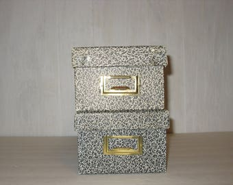 Two Small Black and White File Boxes with Lids for 3 x 5 cards