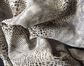Vintage-Silk-Necktie-Scarf-Animal Print-Snake Skin-Grey-Black-Gifts For Her-Gifts For Him