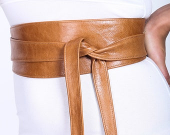 Distressed Tan Brown Leather Obi Belt, Western Belt, Womens Leather Belt,  Bridesmaid Belt, Tan Belt