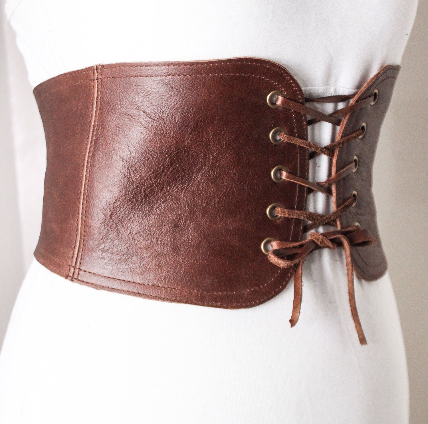 brown lace up corset leather belt | brown lace up waist belt
