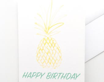 Pineapple watercolor birthday card by Louise Dean