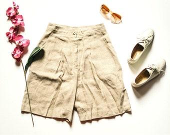 80s Linen Shorts | Vintage Shorts | Preppy Shorts | High Waist Shorts | Midi Shorts - Size 8 M Medium