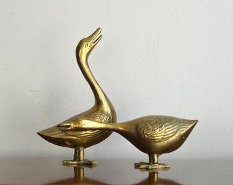 Vintage Pair Brass Swan Duck Figurines Statue Animal Brass Nautical Coastal Preppy Nursery Decor