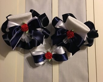 Girls white organza and navy blue ribbon ruffle trim
