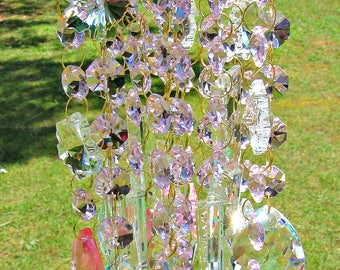 Pink Crystal Wind Chime, Crystal Sun Catcher, Glass Wind Chime, Patio Accent,  Garden Décor, House Warming Gift, Anniversary Gift,   WC 139
