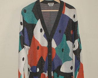 Vintage Missoni Abstract Patterned Knit Cardigan, S / M