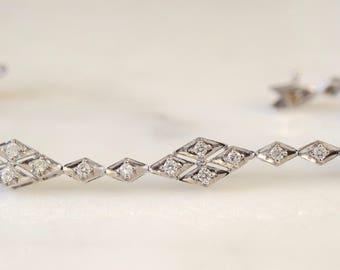 14K White Gold 1.19 Carat Vintage Style Diamond Bracelet
