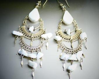White Earrings Dangle Earrings gift for her earrings bridal earrings wedding earrings silver earrings white bridesmaid earrings jewelry @15