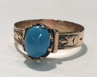 Vintage Victorian 10k Rosey Yellow Gold Turquoise Ring
