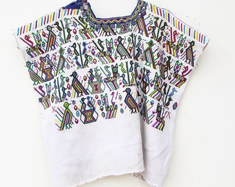 Small Child's Huipil | Vintage Boho Girls' Top with Birds and Animals | Handwoven Textile from Guatemala