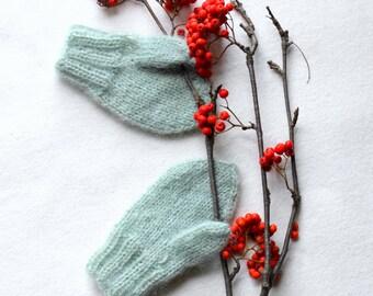Wool mittens, Knit wool gloves, Winter baby mittens, angora mint mittens, Christmas gift, green gloves