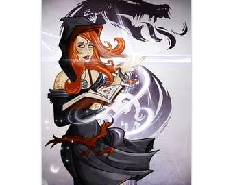 Vega, Dark Sorceress - Destined Legends - (Metallic Linen) LTD Print - by Denis Caron - Corvink