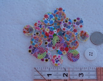 Large Wood Floral Buttons