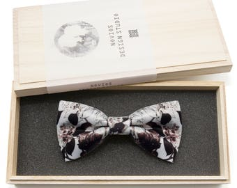Oriental Floral Bowtie - Modern Boys Bowtie, Toddler Bowtie Toddler Bow tie, Groomsmen bow tie, Pre Tied and Adjustable Novioshk, H0337