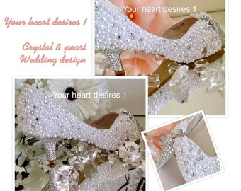 Wedding shoes Pearl and crystal bridal shoes white pearl Swarovski Elements
