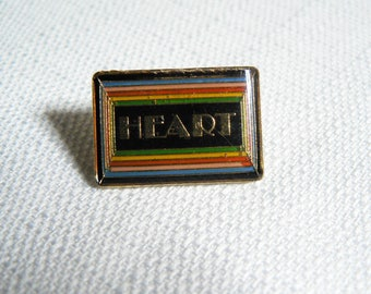 Vintage Late 1970s Heart Rainbow Colors Border Enamel Pin / Button / Badge
