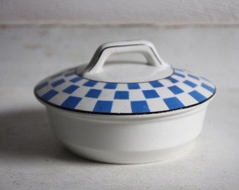 Ceramic round dish with lid, blue checkered pattern.