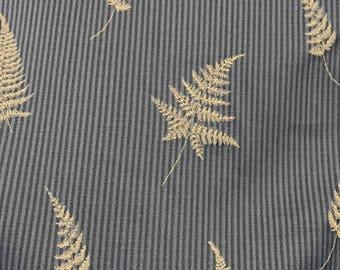 Blue - Fern Leaf - Upholstery Fabric By The Yard
