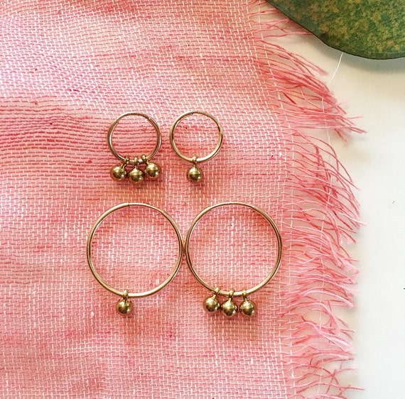 Mini 14K Gold Filled Hoop Earrings with Brass Charm! Available in Two Sizes 12mm or 20mm