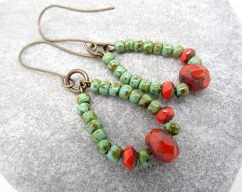 Hoop Earrings, Czech Glass Earrings, Faceted Rondelle Earrings, Verdigris Earrings, Orange Earrings, Bohemian Style Earrings, Beaded Earring