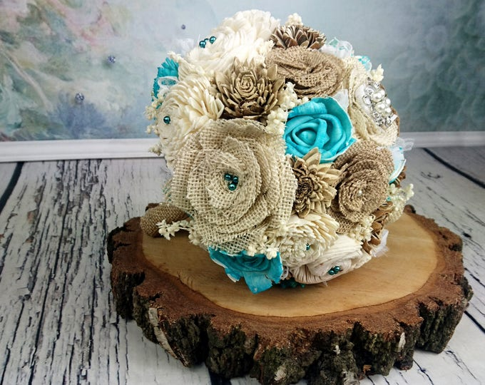 Medium burlap flowers ivory brown turquoise rustic beach summer wedding BOUQUET sola Flowers lace brooch sorghum custom made on order