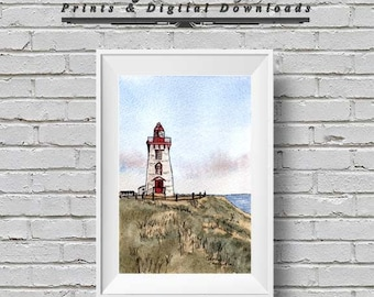 Pen and Wash Watercolour Print Souris East Lighthouse - Instant Download