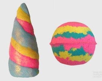 Unicorn Package - Luxury Bath Gift Unicorn Horn Bubble Bar & Bath Bomb with CHARM // Unicorn Jewelry // Rainbow Bath Bombs // Gift for Her
