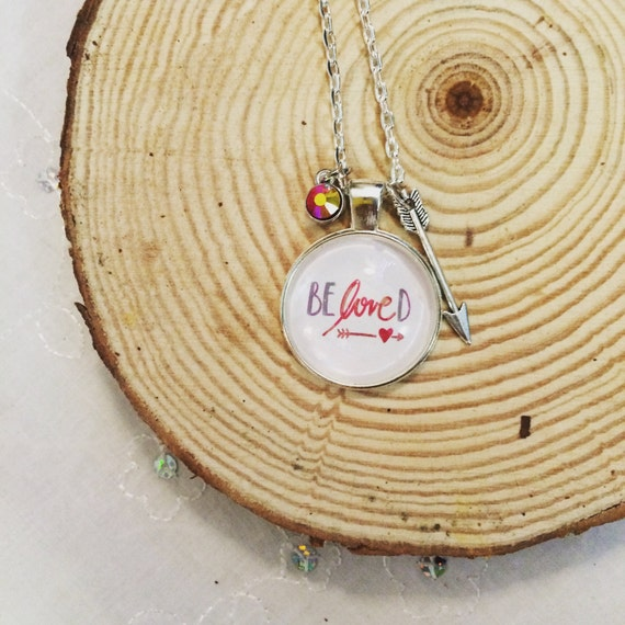 Catholic Pendant Necklace * Silver Beloved Handlettered Pendant * Christian Jewelry * Birthday Gift * Christmas Gift * Daughter Gift