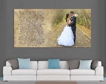 Wedding Canvas Print. Gallery Wrapped. First dance, Wedding Songs, Lyrics. Anniversary Gift. Perfect Custom Wall Decor. 16x8  up to 60x30
