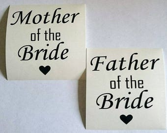 Vinyl Transfer Decal for Glasses Mother/Father of the Bride/Groom x 2 sets (4 vinyls)