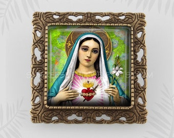 Religious Jewelry, Immaculate Heart Of Mary Pendant, Virgin Mary, Catholic Jewelry,  Virgin Mary Booch, Saints, Gift for Catholic