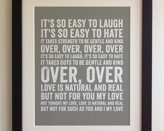 FRAMED Lyrics Print - The Smiths, I know it's Over - 20 Colours options, Black/White Frame, Wedding, Anniversary, Valentines, Fab Picture