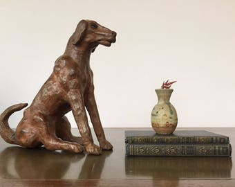 Vintage Leather Dog Statue Figurine