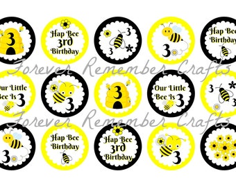 INSTANT DOWNLOAD Personalized Bee 3rd Birthday Party 1 Inch Bottle Cap Image Sheets *Digital Image* 4x6 Sheet With 15 Images