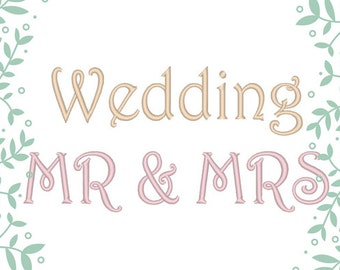 Monogram Wedding Font machine embroidery satin stitch uppercase and lowercase letters, numbers, assorted sizes