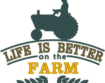 Life is better on farm, Future farmer - Quote  - future little farmer embroidery design farm embroidery assorted sizes 4x4 and 5x7