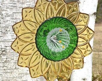 Green Yellow Flower, Recycled Home Decor, Wild Flower Art, Home Decor, Garden Art Sculpture & Stem, Natural Flower Decor, Eco Friendly Decor