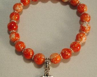 Orange Mottled Marble Glass Bead & Heart Charm Stretch Bracelet