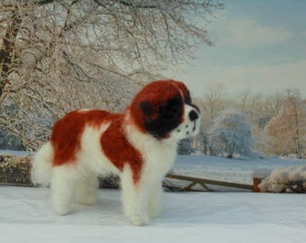 St( SAINT)BERNARD Dog. Smooth/Rough coat.Any  colour/Custom markings. No extra charge.  Needle felted from photographs.Unique Gift /Memorial