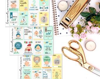 Baby Boy milestone stickers for your Erin Condren/Inkwell Press Planner/ Happy Planner