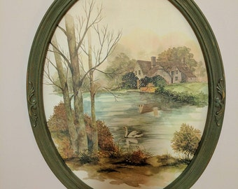Framed print of a country setting.         FREE SHIPPING!! Item#130176