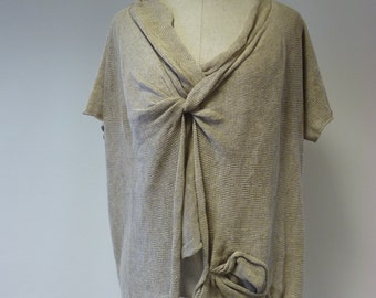 Special price. Knitted natural linen asymmetrical blouse, XL size.
