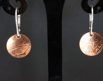 Sterling Silver Earrings with embossed Copper disc - Silver Drop Earrings - Dangle Earrings Boho - Dandelion Earrings - Copper Earrings