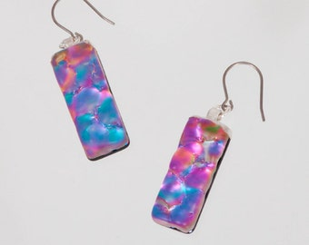 Dichroic Earrings-Purple Dichroic Earrings, Purple Dangles, Turquoise Dichroic Earrings, Dichroic Dangle Earrings, Turquoise Glass Earrings